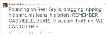 Pouncing on Bear Grylls, ripping his shirt, his jeans, his briefs. REMEMBER GABRIELLE, BEAR, I'd scream, frothing. WE CAN DO THIS!